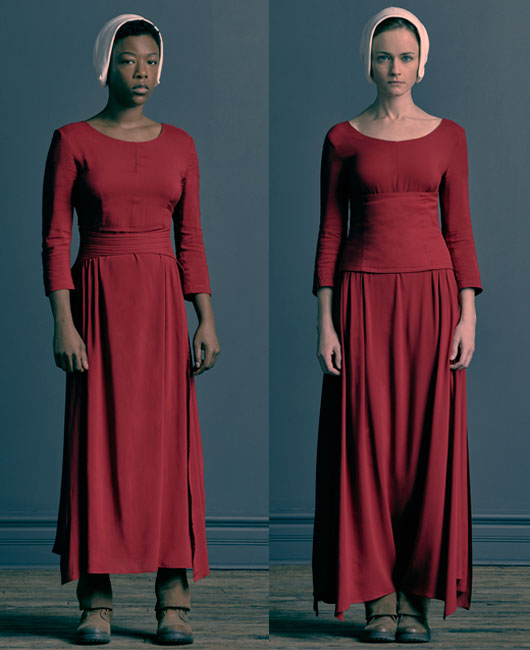 """Samira Wiley and Alexis Bledel in their """"Handmaid's Tale"""" costumes. (Photo Credit: Jill Greenberg)"""